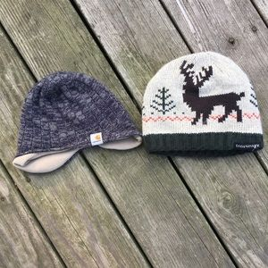 Two toddler boy winter hats